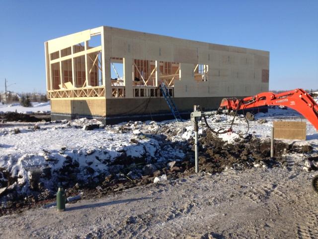 Screw Pile Installation in Frozen Ground for a Garage in East St Paul Manitoba - Postech Winnipeg