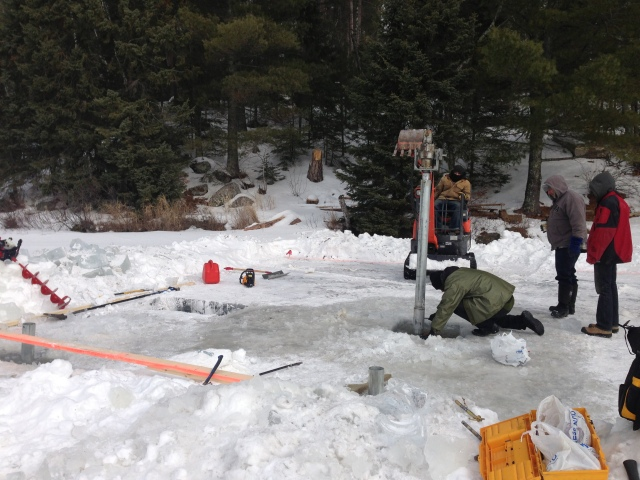 Helical Screw Piles Installed in Lake for Cottage Boathouse and Dock in Ontario by Postech Winnipeg