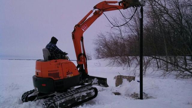 Huge Helical Screw Pile Installed in Frozen Ground for Light Standard in Gimli Manitoba