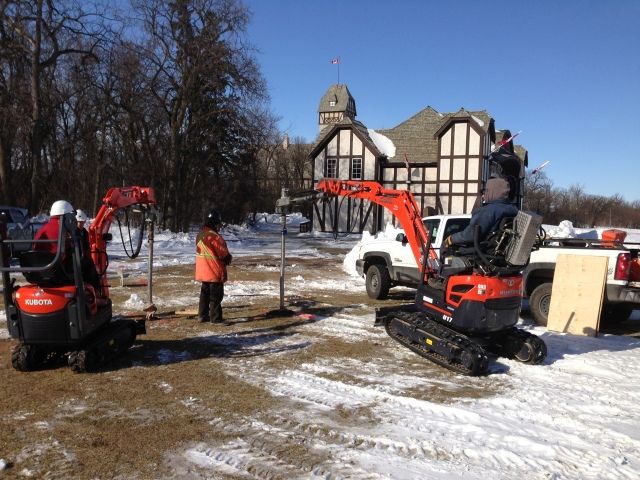 Drilling Through Frost to Install Screw Piles in Winnipeg Assiniboine Park