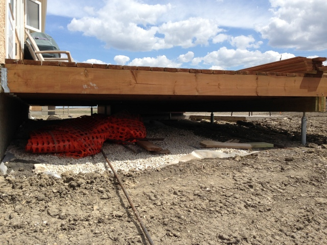 Laser Leveled Postech Screw Piles with Adjustable Adapters for Deck in Winnipeg Manitoba